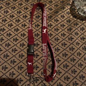 Maroon Love Pink Small Thin Keychain Lanyard